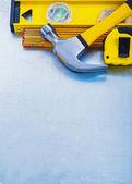 Construction tools on metallic background — Stock Photo
