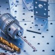 Angle bits ruler and metal drill — Stock Photo #74906519