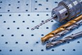 Steel drill with boring bits — Stockfoto