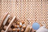 Сауна статей на плетеные мат — Стоковое фото