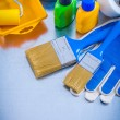 Safety gloves and paint tools — Stock Photo #76139747