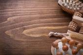 Wooden sauna massagers and nailbrush — Stockfoto
