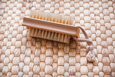 Single wooden scrubbing bath brush — Stock Photo