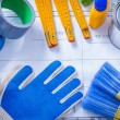 Composition of working paint tools — Stock Photo #76430281