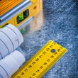 Construction level, blueprints and units of measurement — Stock Photo #76430319