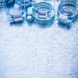Group of metal spiral hose clamps — Stock Photo #76430409