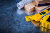 Composition of construction working tools — Stock Photo