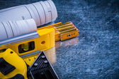 Construction level, blueprints and measurement tools — Stock Photo