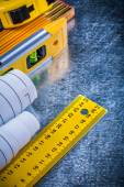 Construction level, blueprints and units of measurement — Stock Photo