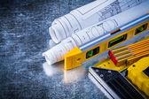 Ruler, construction level, meter, blueprints — Stock Photo