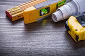 Tape-measure, blueprints, construction level — Stock Photo