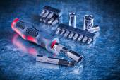 Turn screw with set of replaceable bits — Stock Photo