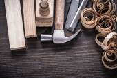 Planer hammer, chisels, wooden studs — Stock Photo
