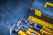 Toolbox, hammer, ruler, pliers — Stock Photo