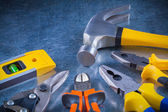 Tin snips nippers hammer — Stock Photo
