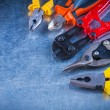 Set of bolt cutter, tin snips, cutting pliers — Stock Photo #77421756