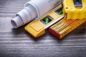 Measuring tape, construction level and  meter — Stock Photo
