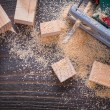 Electric jigsaw sawdust and wooden planks — Stock Photo #80367594