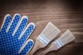 Boya fırçaları ve koruyucu eldiven — Stok fotoğraf