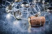 Heap of twisted metal cork stoppers — Stock Photo