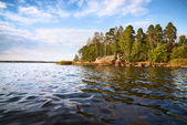 Little island and waves in Baltic sea — Foto Stock