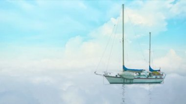 Video 1080p - Yacht in morning fog on a background of clouds — Stock video