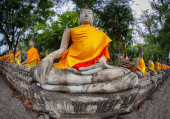 Row of Buddha statues in the old temple. Thailand, Ayutthaya — Stock Photo