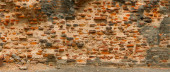 Very old red brick wall. India, Agra — Stock Photo