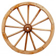 Ancient wooden grunge wagon wheel in country style isolated on w — Stock Photo #53068411