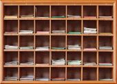 Cabinet with notes for divination in the interior of a Buddhist  — Stock Photo