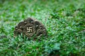 Tombstone with the image of ancient symbol - the swastika — Stock Photo