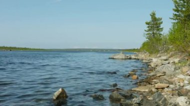 Video 1080p - Northern landscape with Imandra lake with rocky shore. Russia — Stock Video