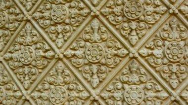 1080p video - Traditional ornament on a stone wall. Cambodia, Phnom Penh — Stock Video