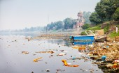 Bank of Yamuna river near Taj Mahal. India, Agra — Stock Photo