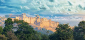 India landmarks - panorama with Amber fort. Jaipur city — Stock Photo