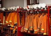 Firefighting Equipment Arranged on Racks at the Fire Station — Stockfoto