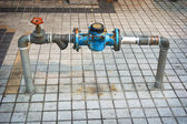 Main Water Line with Meter and Valve on Public Sidewalk — Foto Stock