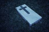 Grave marker at a cemetery in Singapore, in black and white — Stock Photo