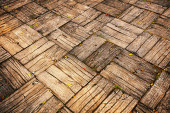 Weathered Parquet Style Decking at Oblique Angle — Stock Photo