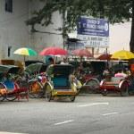 MALAYSIA, PENANG, GEORGETOWN - CIRCA JUL 2014: Cycle rickshaws o — Stock Photo #64882891