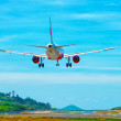 Commercial Airliner Landing at an Airport in Southeast Asia — Stock Photo #71551485