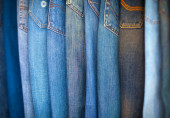 Blue-Jeans in Various Shades of Blue, Arranged on Display. — Stock Photo
