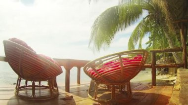 Comfy Resting Place Overlooking the Sihanoukville Beach — Stock Video