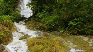 Whitewater Cascading over a Natural Waterfall in Thailand. with Sound — Stock Video