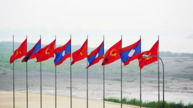 Patriotic Flag Display in Vientiane. the Capital of Laos — Stock Video
