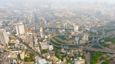Downtown Cityscape in Bangkok. Thailand. with a Major Highway Junction — Stock Video