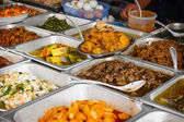 Array of Fresh Foods at a typical eatery in Southeast Asia — Stock Photo