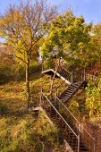 Wooden stairs in the autumn. — Stock Photo