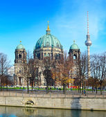 Berlin Cathedral and TV tower — Stock Photo