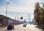 Cars on road in Lisbon — Stockfoto